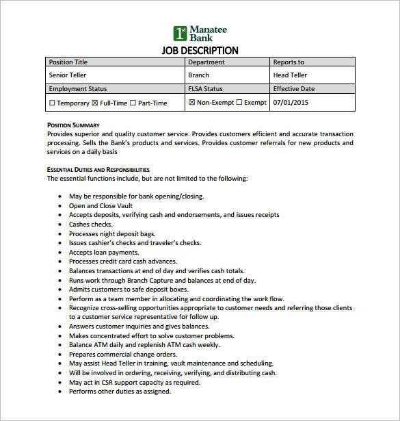 9 Bank Teller Job Description Templates – Free Sample