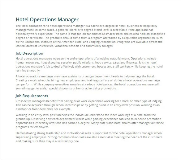 9 Operations Manager Job Description Templates  Free