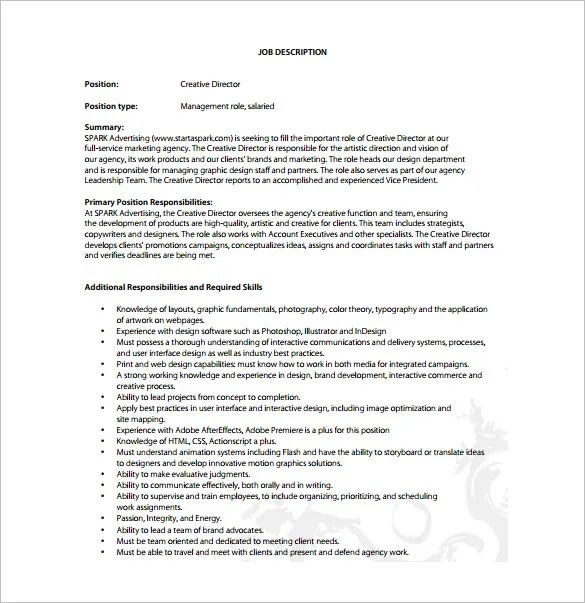 8 Creative Director Job Description Templates DOC PDF