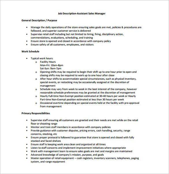 sales assistant roles