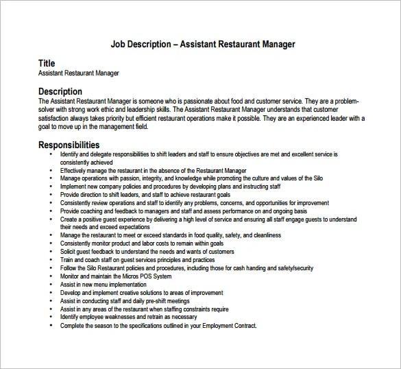 Restaurant Manager Job Description Templates 13 Free