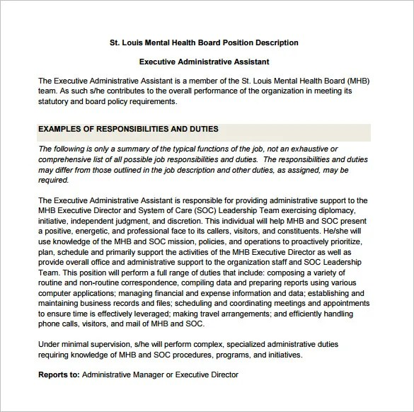13 Administrative Assistant Job Description Templates  Free PDF Google Docs Apple Pages