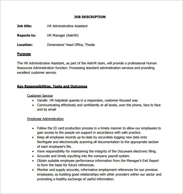 13 Administrative Assistant Job Description Templates  Free PDF Google Docs Apple Pages