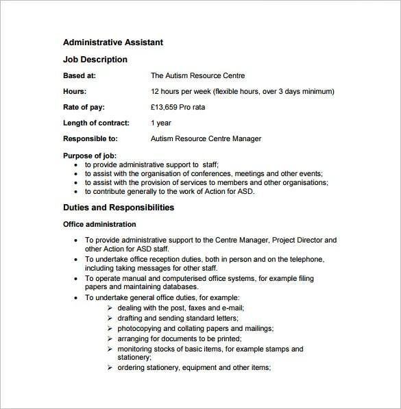 13 Administrative Assistant Job Description Templates