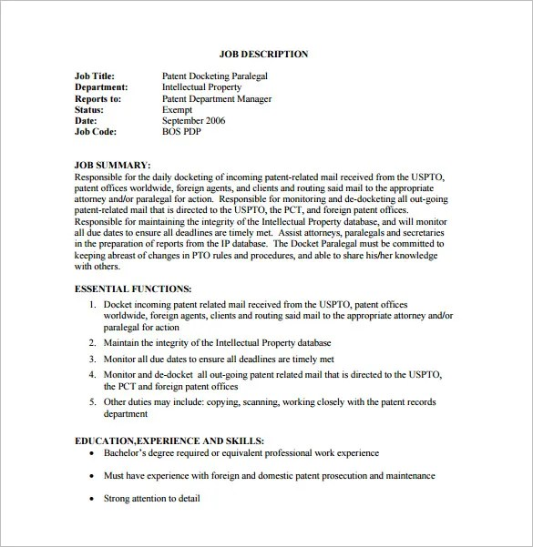 Paralegal Job Description Template 9 Free Word PDF