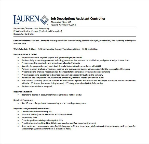 Assistant Financial Controller Cover Letter