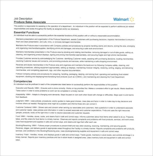 Sales Associate Job Description Template 7 Free Word