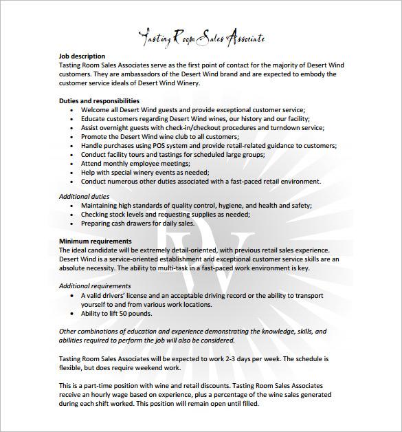 customer service retail job description