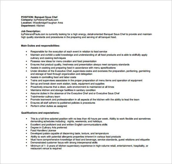 Sous Chef Job Description Template 16 Free Word PDF Format Download  Free  Premium Templates