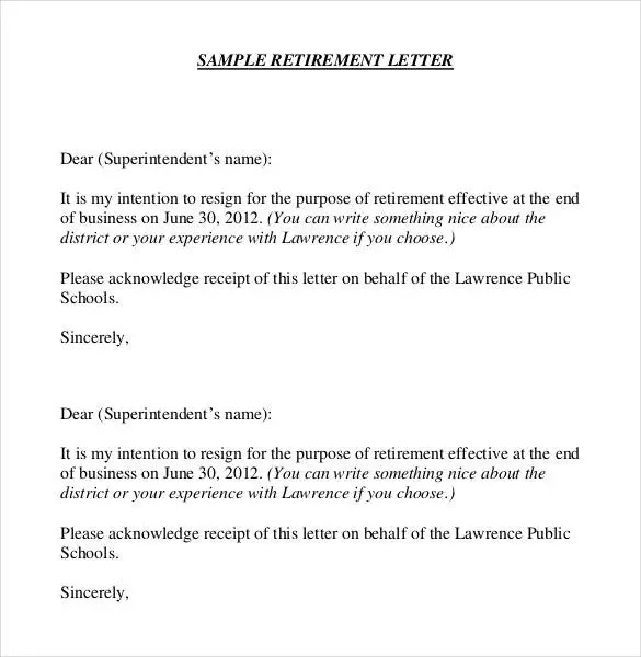 36 Retirement Letter Templates  PDF DOC  Free