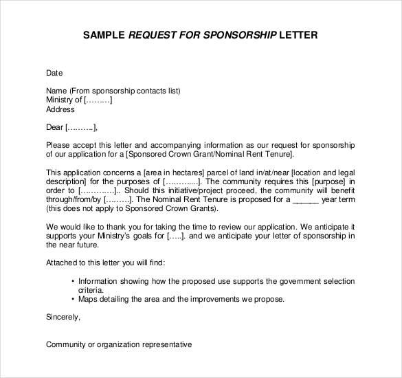 Letter Asking Sponsorship