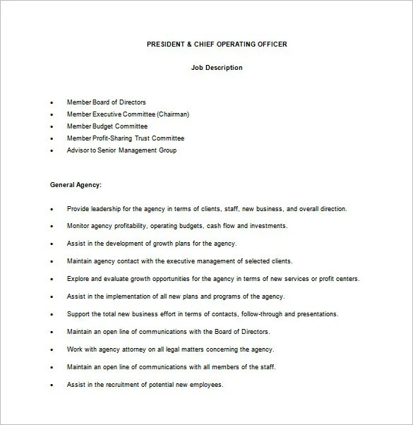 Chief Operating Officer Job Description Template  9 Free Word PDF Format Download  Free