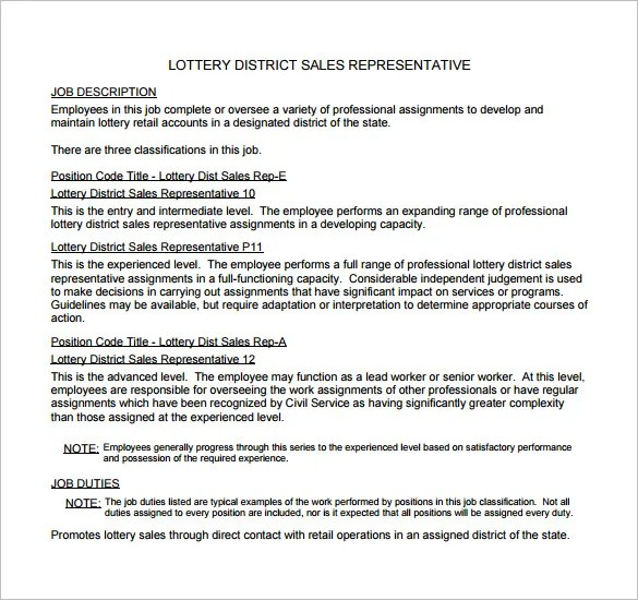 10 Sample Sales Representative Job Description Templates