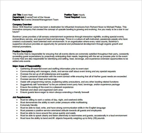 9 Hostess Job Description Templates – Free Sample