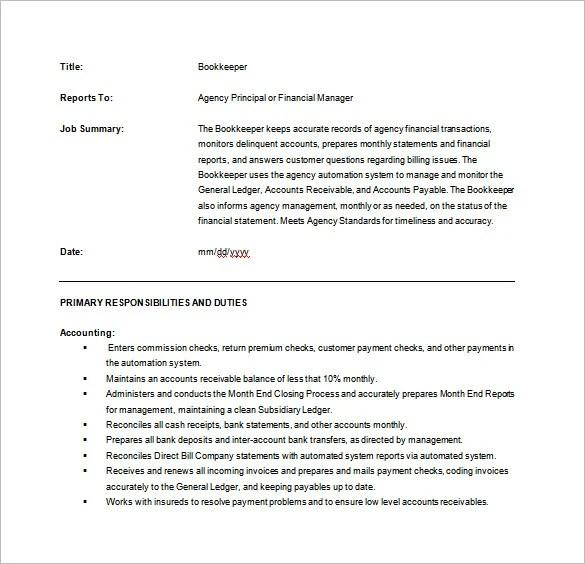 10 Bookkeeper Job Description Templates – Free Sample