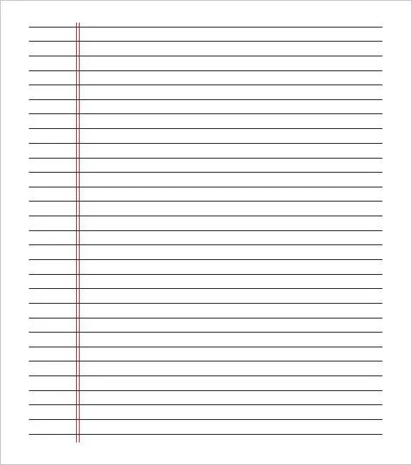 college ruled paper template for word