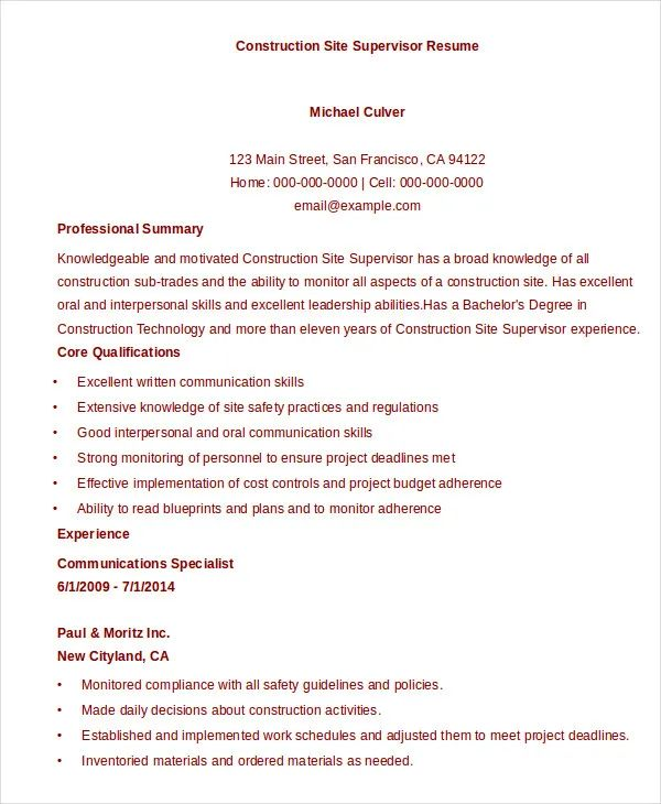 construction foreman resume template