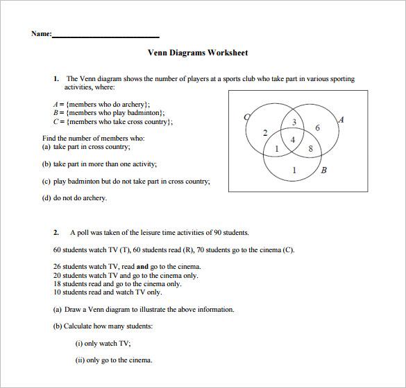 geometry venn diagram worksheet