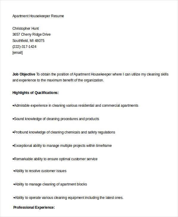 Housekeeping Resume Example 9 Free Word PDF Documents