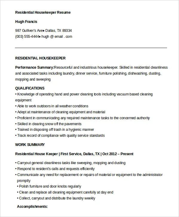 free resume examples for housekeeping