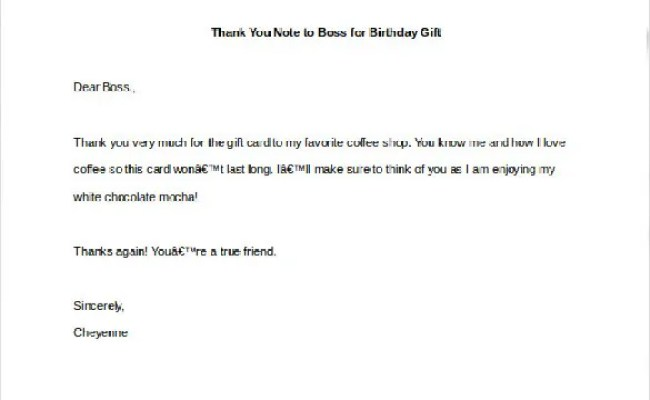 10 Thank You Notes To Boss Pdf Doc Free Premium