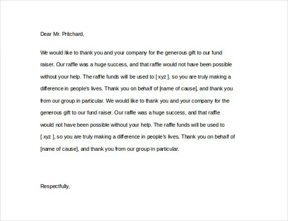 5 Thank You Notes For Donations Free Sample Example