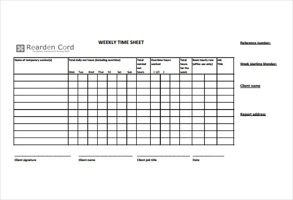 14+ Time Sheet Templates