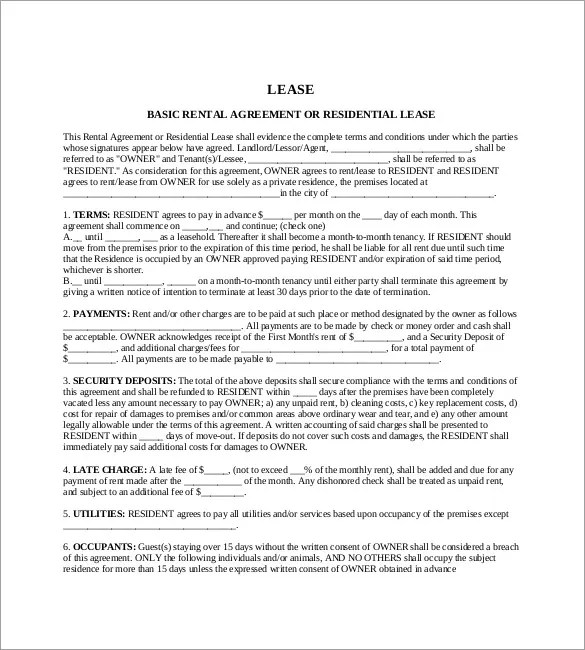 Lease Agreement Template Ohio Best Create Professional