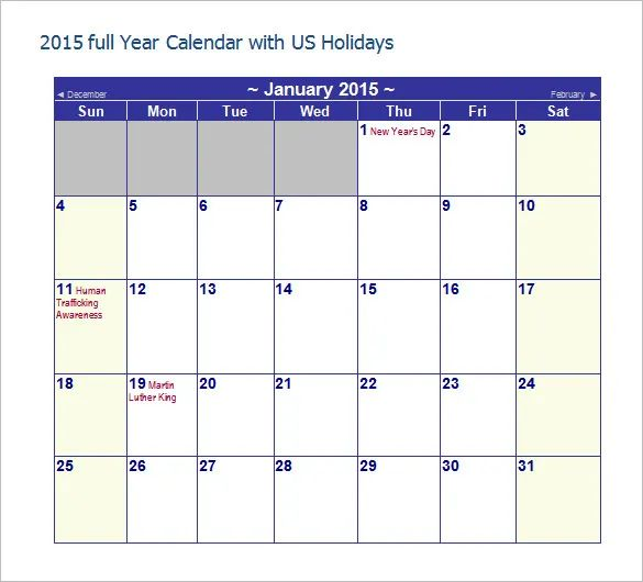free excel calendar 2015