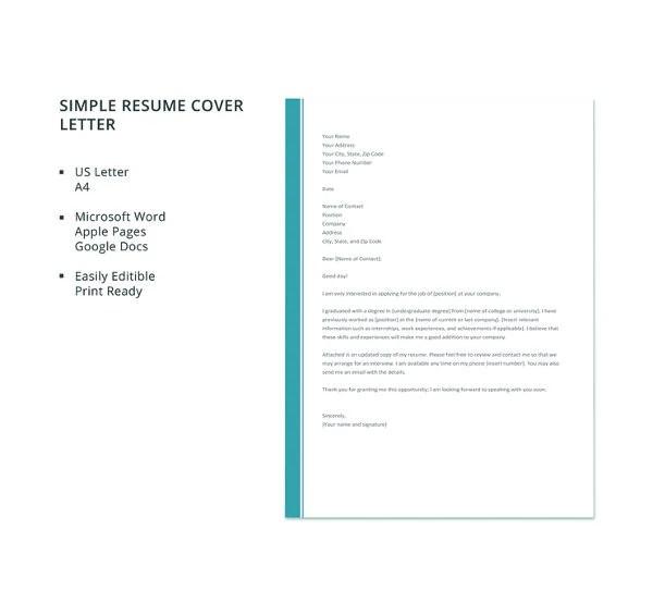 51 Simple Cover Letter Templates  PDF DOC  Free  Premium Templates