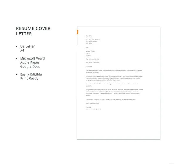 Free Cover Letter Template  19 Free Word PDF Documents