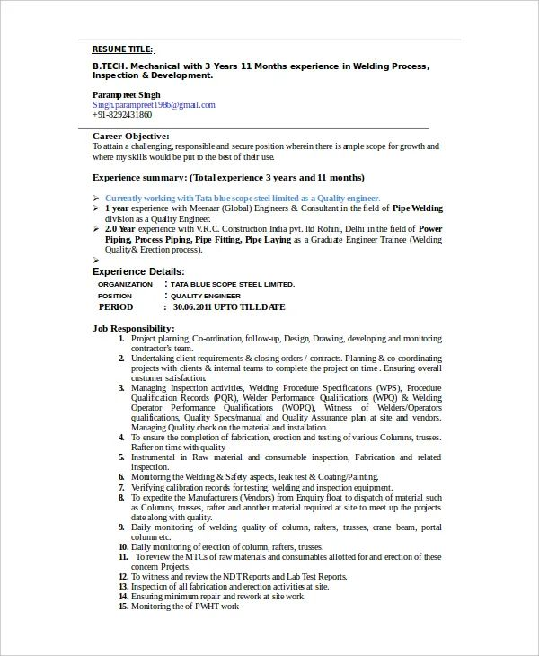 resume for welding job