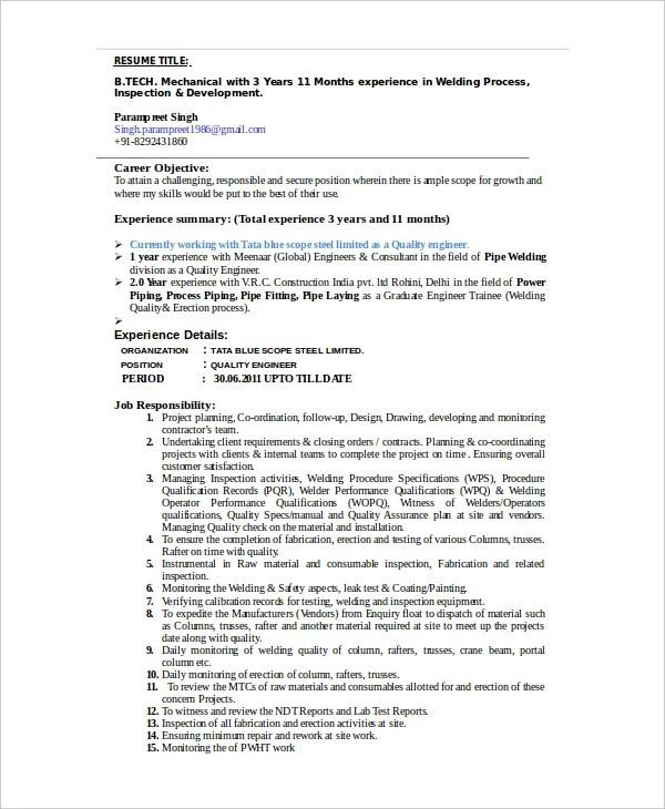 welder resume template 6 free word pdf doents - Editable Resume Template