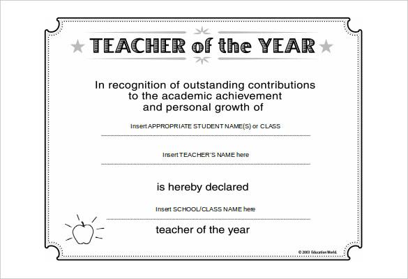 teacher of the year award template