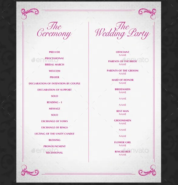 17 Wedding Template  DOC Excel PDF PSD InDesign  Free  Premium Templates