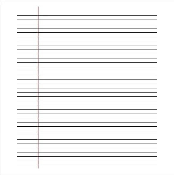 college ruled paper template
