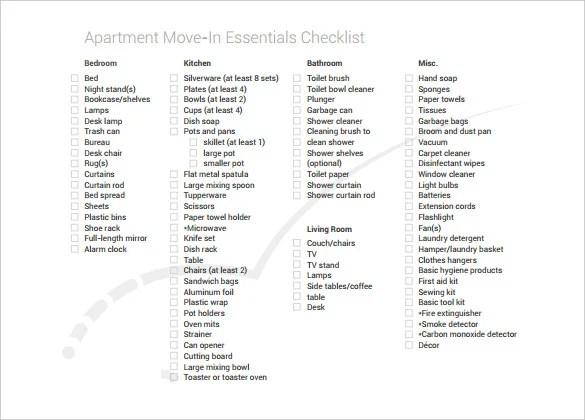 Apartment Checklist Template ~ Nice Apartement