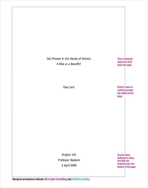 mla style essay template