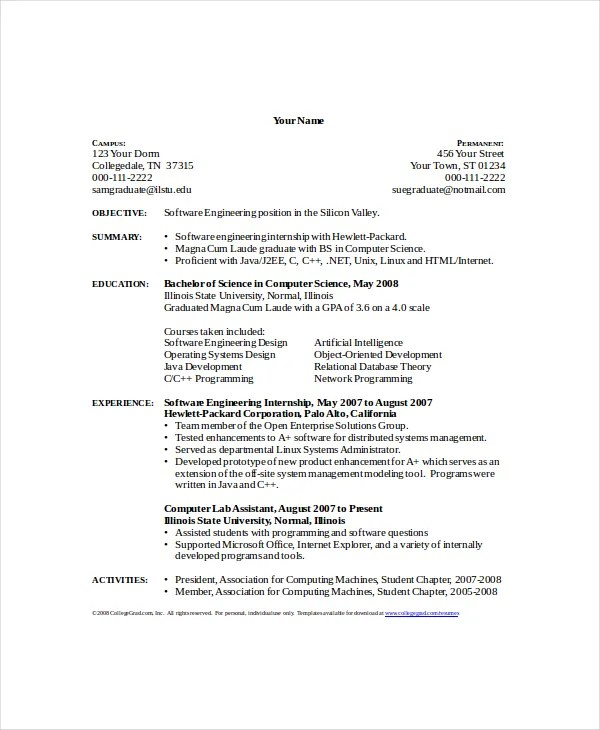 Computer Science Resume Template 8 Free Word PDF Documents