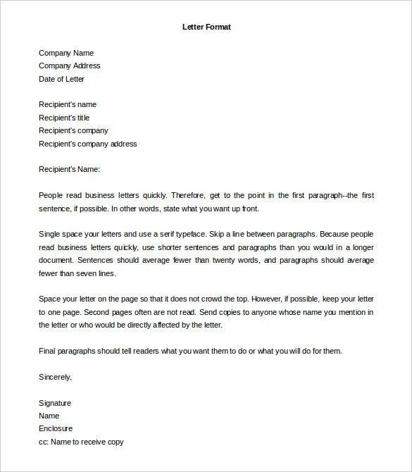 letter format for word