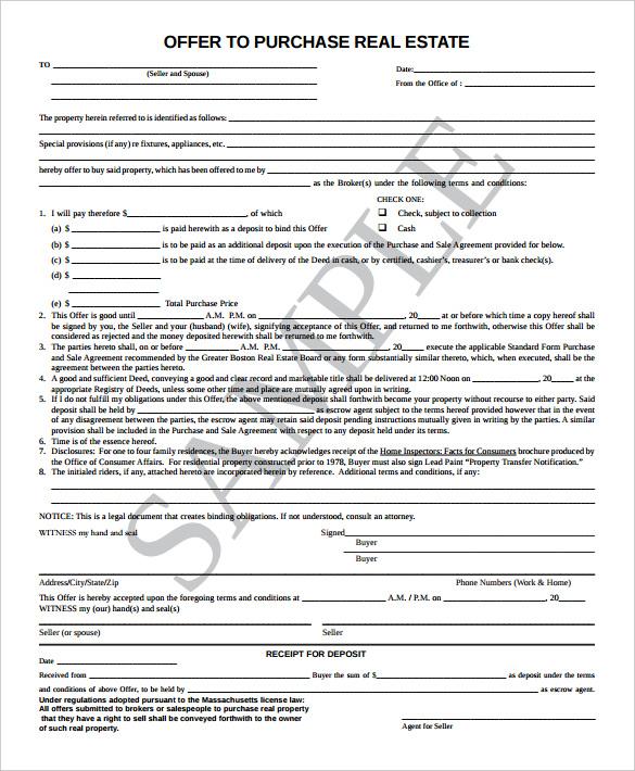 real estate purchase offer letter template docoments ojazlink