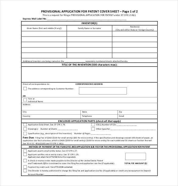 Provisional patent template for Patent specification template