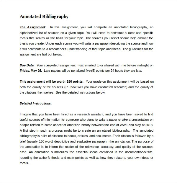10 Free Annotated Bibliography Templates – Free Sample Example