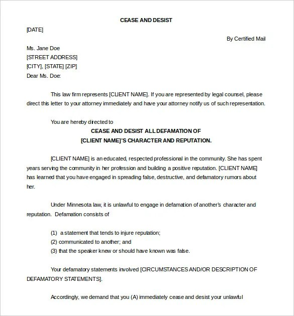 Cease And Desist Letter Template 16