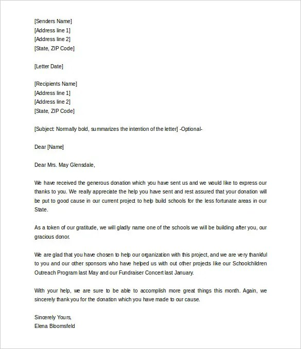 9 Donation Letter Templates Free Sample Example Format