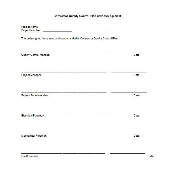 Quality assurance form template for Quality assurance program template