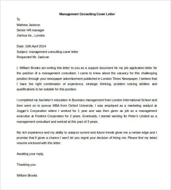 Cover Letter Consulting Company - Cover Letter Templates