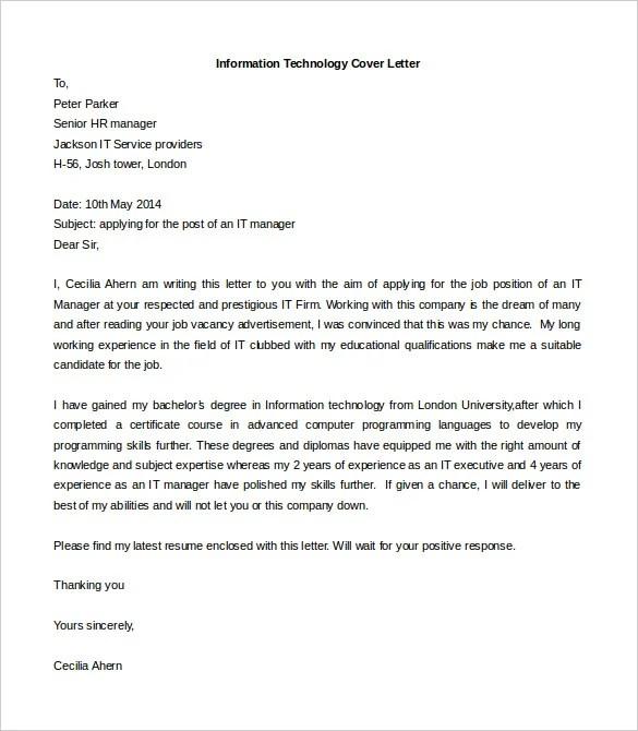 Information Technology Job Cover Letter Sample Doc