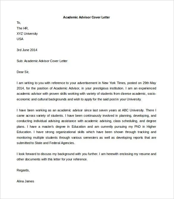 Sample Academic Advisor Cover Letter Cover Letters Insurance