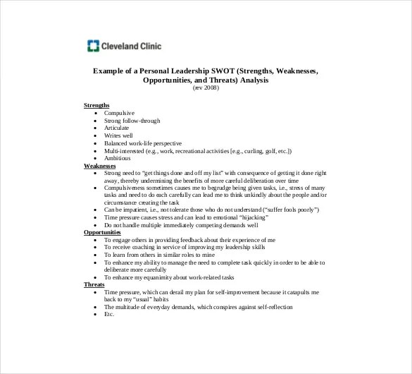 Personal SWOT Analysis Template 15 Examples In PDF